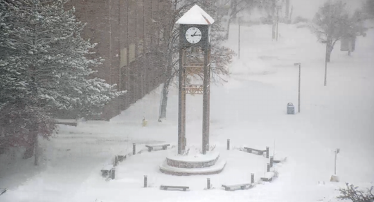 A view of the clock tower from a webcam at Michigan Tech in Houghton, just after 1 p.m. To view live: https://www.mtu.edu/webcams/clock/
