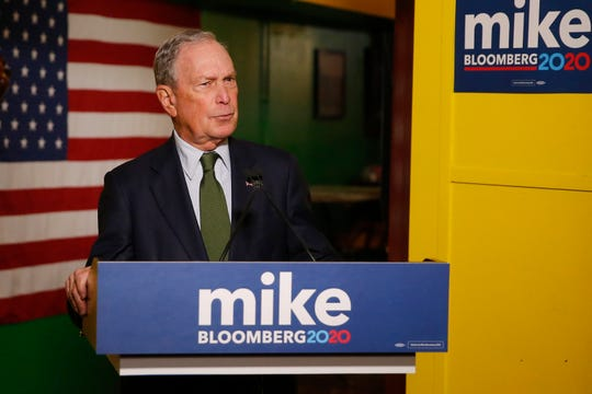 Mike Bloomberg speaks to the media, Tuesday, Nov. 26, 2019 in Phoenix. Billionaire Michael Bloomberg, a late entrant in the already crowded race for the Democratic presidential nomination, was set Tuesday to file to run in Arizona's presidential primary.