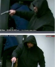 The suspect was caught on a surveillance camera during the Nov. 20 incident