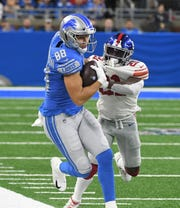 Lions tight end T.J. Hockenson has 26 catches for 349 yards and two touchdowns as a rookie.