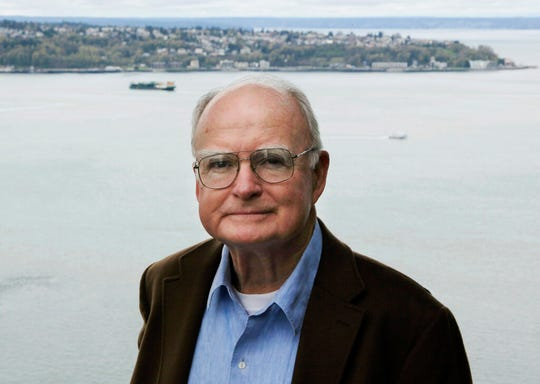 In this April 13, 2009, photo, William Ruckelshaus, the first administrator of the EPA, poses for photos at his office in Seattle. Ruckelshaus, who famously quit his job in the Justice Department rather than carry out President Richard Nixon's order to fire the special prosecutor investigating the Watergate scandal, has died. He was 87.