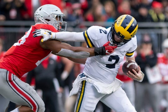 Shea Patterson gets a second shot at defeating Ohio State on Saturday.