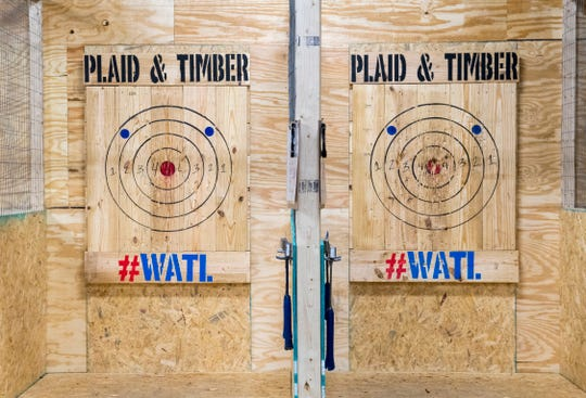 Throwing lanes Plaid & Timber Axe Throwing Company Saturday evening, Nov. 23, 2019.