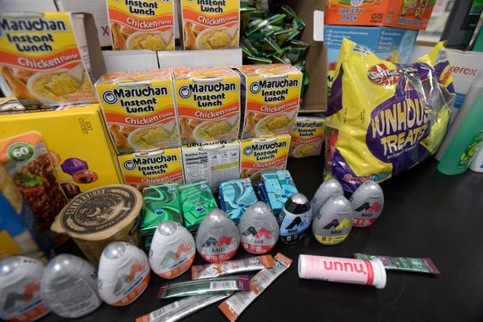 Students at St. Joseph's Catholic School have collected food and various items during the Silent Heroes campaign led by fellow student Jaden Schaffer in Fort Collins, Colo. on Thursday, Nov. 21, 2019.  Inspired by his aunt in the National Guard, Schaffer started the campaign to send care packages to local men and women serving in the Middle East.