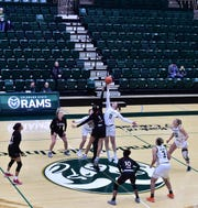 The stands at Colorado State's Moby Arena were mostly empty at tipoff of a Tuesday, Nov. 26, 2019, women's basketball game against Incarnate Word. School officials closed the game to the public because of safety concerns during a heavy snowstorm that closed CSU's campus for the day.