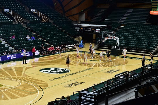 Moby Arena's stands were mostly empty Tuesday, Nov. 26, 2019, during a women's basketball game between Colorado State and Incarnate Word that was closed to the public because of a snowstorm that closed campus for the day.