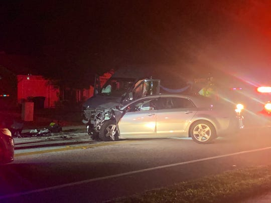 Crashes in Lee County Tuesday evening closed roads in Fort Myers and San Carlos Park. This car-van collision closed down a section of Lee Road at Harrisburg Drive.