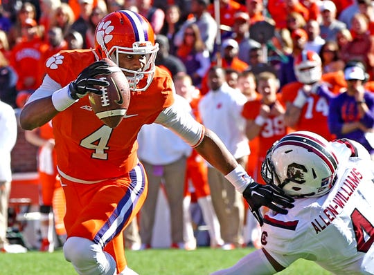 Clemson quarterback Deshaun Watson won three consecutive games against South Carolina.