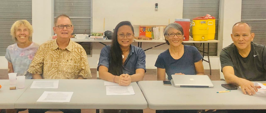 Save Southern Guam, Inc. held its annual membership meeting on Nov. 8 and elected its officers. The group is a grass-roots movement advocating the protection of the seashore and coastal beauty of southern Guam and responsible development in accordance with Guam Code Annotated (GCA), Title 21 (Real Property) that include but not limited to Chapters 61 (Zoning Law), 63 (Guam Territorial Seashore Protection Act of 1974), 64 (Ocean Shores: Territory Beach Areas), and 65 (Public Access to the Ocean Shore). Newly elected officers from left: Linda Tatreau (second vice chairperson), Rodney Webb (treasurer), Lasia Casil (chairperson), Joni Kerr secretary), Adrian Gogue (vice chairperson).