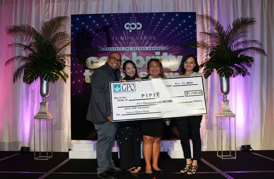 Pictured in the PIPIT donation: Kyle Mandapat, host; Miho Tano, TSP; Susan Fryer, TSP; and Suzanne Perez, GPO, accepted on behalf of PIPIT.