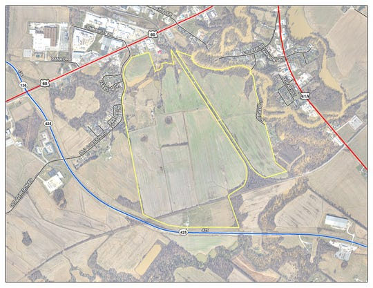 Local officials hope land off of Kentucky 425 (highlighted in blue) that is connected with a CSX rail line will be ideal for development.