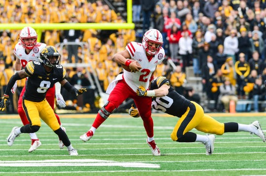 Nebraska quarterback Adrian Martinez was the Cornhuskers' leading rusher last year in Kinnick Stadium. He'll for sure be looking to take off again, when Iowa comes to town this Friday.
