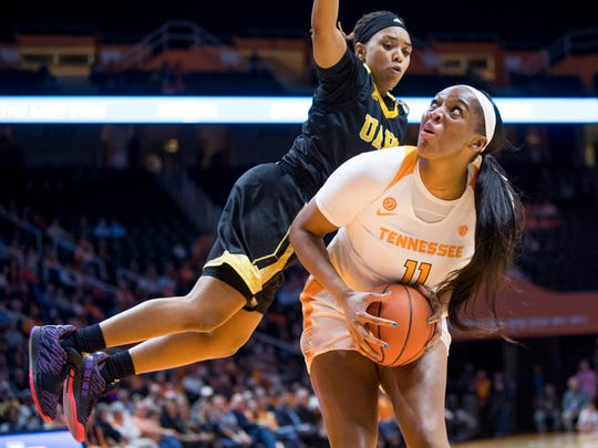 Tennessee center Kasiyahna Kushkituah (11) looks to the shoot during the Lady Vols' basketball game against Arkansas-Pine Bluff at Thompson-Boling Arena in Knoxville, Tenn., on Tuesday, November 26, 2019.