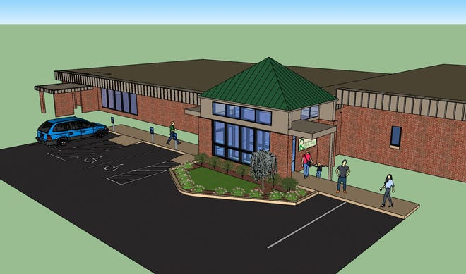 The new entrance to Richland Public Health is expected to be completed by June.