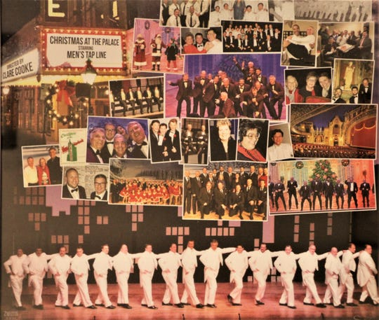 This collage in the green room at the Marion Palace Theatre shows members of the men's tap line who have performed in Christmas at the Palace shows through the years. The men's tap line will once again be part of the 2019 show Dec. 6-8.