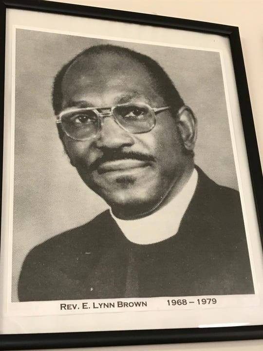 A portrait shows Bishop Edward Lynn Brown while he served at Mt. Pisgah Christian Methodist Episcopal Church. The dates below show the years he pastored there.