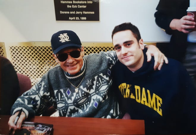 West Allis Mayor Dan Devine (right) met the other Dan Devine, the former Notre Dame and Green Bay Packers football coach, at a book-signing event in South Bend, Indiana in the early 2000s. Devine the football coach died in 2002.
