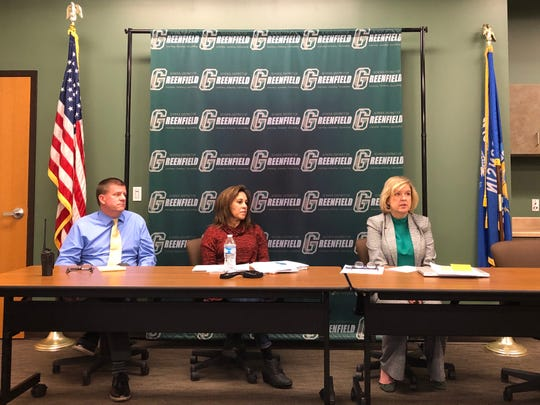 Greenfield High School Principal Paul Thusius, Director of Pupil Services Monica Garcia Warnke and district Superintendent Lisa Elliott take questions Nov. 29.