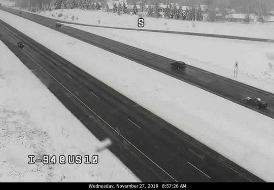 This freeway camera image shows I-94 at Highway 10 near Osseo in west central Wisconsin.