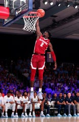 Nov 27, 2019; Nassau, BHS; Alabama Crimson Tide guard Kira Lewis Jr. (2) dunks during the first half against the North Carolina Tar Heels at Imperial Arena. Mandatory Credit: Kevin Jairaj-USA TODAY Sports