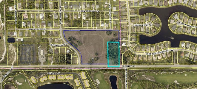 The Village of Estero is considering the voluntary annexation of the land outlined in dark and light blue.