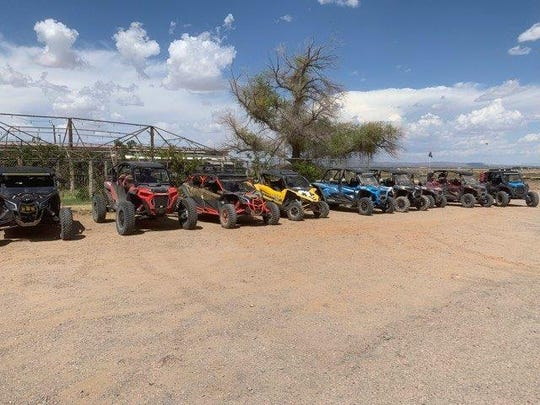UTVs belonging to the Cruces Krew, a group for UTV enthusiasts.