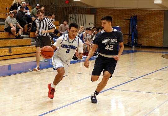 Carlsbad senior Nate Najar drives the lane for a fastbreak attempt against Goddard during their scrimmage on Nov. 26, 2019. Carlsbad opens its season Dec. 3 hosting El Paso Americas.