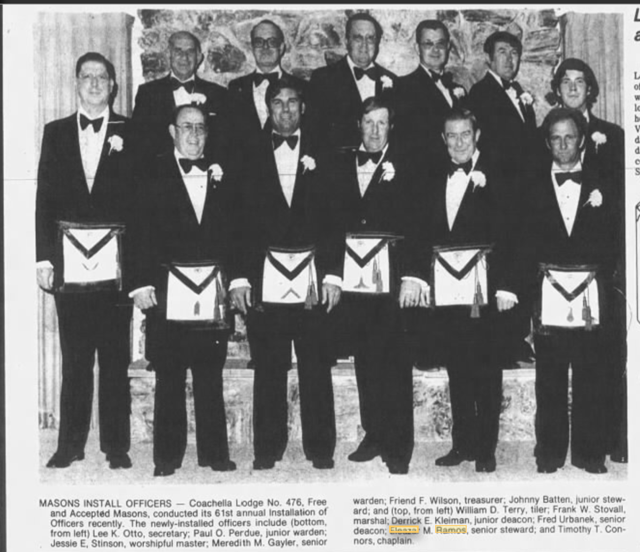 A Jan. 26 1980 photo shows Eleazar Ramos  Sr. (second from top right) who was installed as senior steward of the Coachella Lodge No. 476, Free and Accepted Masons.