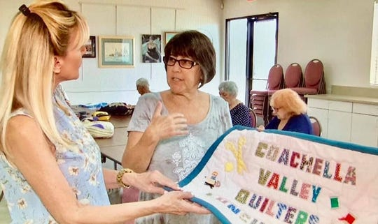 Sandie Newton visits the Coachella Valley Quilters at The Joslyn Center in Palm Desert.