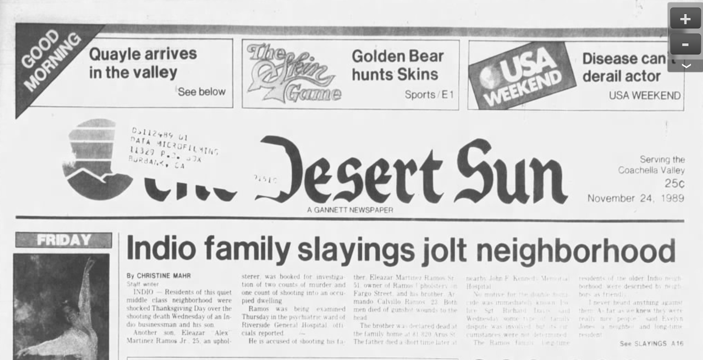 The front page of The Desert Sun on Nov. 24, 1989 depicts news of the double homicide that rocked the family of Indio Mayor Lupe Ramos Amith.