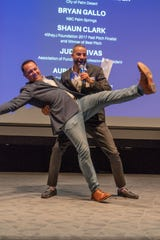 Emcee Darren Diess dances with judge Bryan Gallo in one of his funny hijinks.