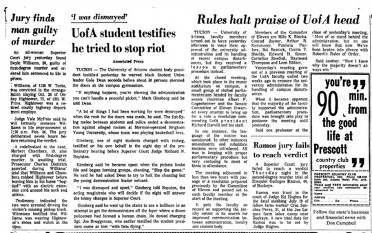 A clipping from the Feb. 7, 1970 issue of The Arizona Republic details Williams' conviction.