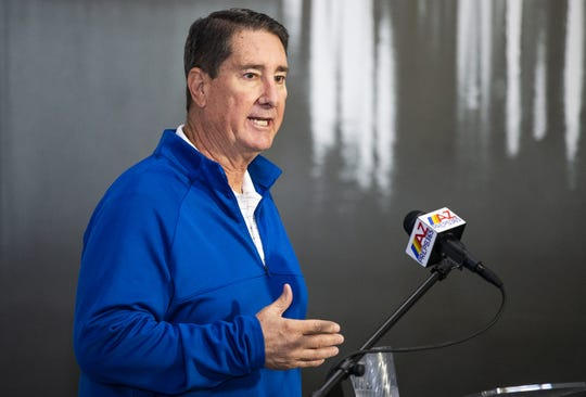 The AIA High School Championships Media Day was held at Dave & Buster's at the Tempe Marketplace, Tuesday, November 26, 2019. AIA Executive Director David Hines addresses the crowd.