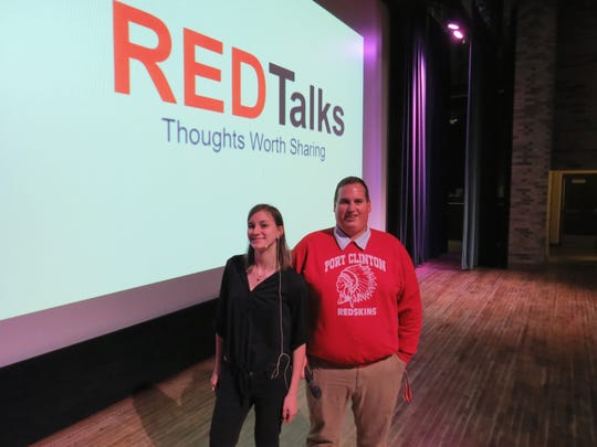 Port Clinton High School senior Emily Feuhrer, who presented the first RED Talk last week, and teacher Joe Miller.