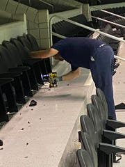 Seats were removed from the Palace of Auburn Hills in late November by Port Huron staff for future installation in McMorran Place Arena, replacing its original wooden seats.