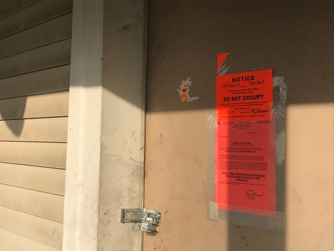 The house at 1103 Cedar St. was damaged in a February 2016 meth lab-related fire. Port Huron code enforcement has red-tagged the property to prevent entry after its owners failed to meet deadlines in a work plan to bring it into compliance.