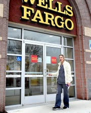 Heather Bahn of Felton finds that the Wells Fargo Bank in the 1400 block of Loucks Road was closed following an earlier robbery attempt at the branch Wednesday, Nov. 27, 2019. Bill Kalina photo