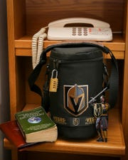 "The bag that held the Golden Knights ""Papalhead."""