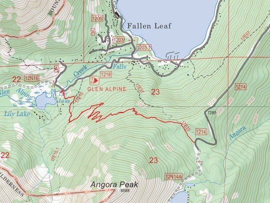 The red line is the path of the Lily Lake Trail which is under construction near South Lake Tahoe. It could open by the end of 2020.