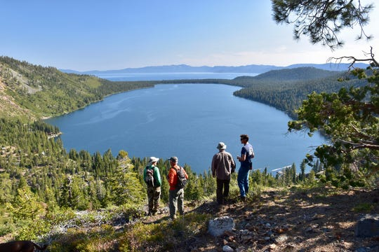 An overlook near the future route of the Lily Lake Trail near Fallen Leaf Lake with views of Lake Tahoe on Aug. 6, 2018.
