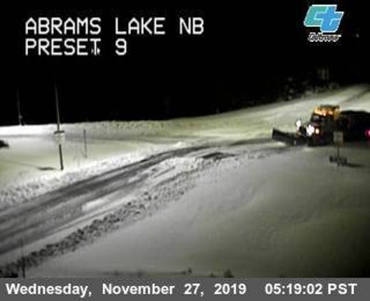 This California Department of Transportation camera shows the Abrams Lake area, just north of Mount Shasta as of 5:19 a.m. Wednesday, Nov. 27, 2019. I-5 stayed closed overnight because of the blizzard conditions that pummeled Northern California and Southern Oregon.
