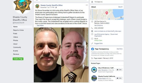 A screenshot of the Shasta County Sheriff's Office's Facebook post details the No-Shave November fundraiser.