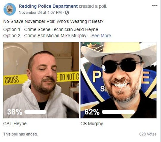 RPD employees have had their Facebook fans vote on which beard they liked better.