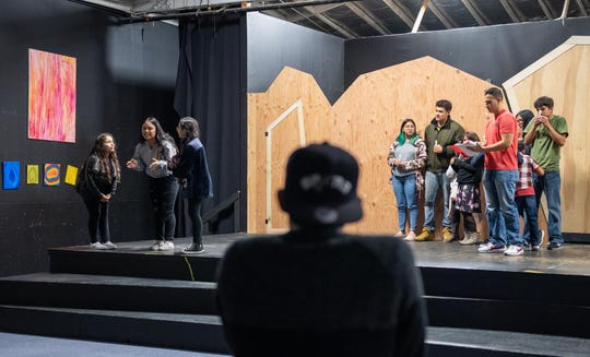 Andres Ortiz watches his cast rehearse during an open to the media rehearsal night at the Alisal Center for the Fine Arts in East Salinas on Nov. 14, 2019.