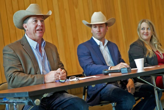 Tom Thompson, marketing director with the San Angelo Stock Show and Rodeo at far left, speaks during a press conference Wednesday, Nov. 27, 2019.