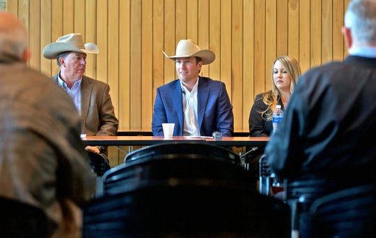 From left: Tom Thompson, Justin Jonas and Brittni Kaczyk hold a press conference about the annual San Angelo Stock Show and Rodeo on Wednesday, Nov. 27, 2019.