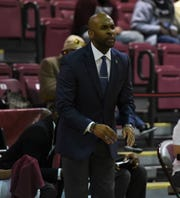 University of Maryland Eastern Shore coach Jason Crafton yells to his team on Tuesday, Nov. 26, 2019.