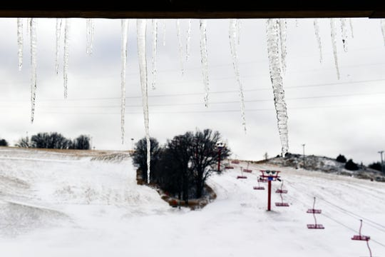 Icicles hang from the window ledge on Wednesday, Nov. 27, at Great Bear Ski Valley in Sioux Falls.