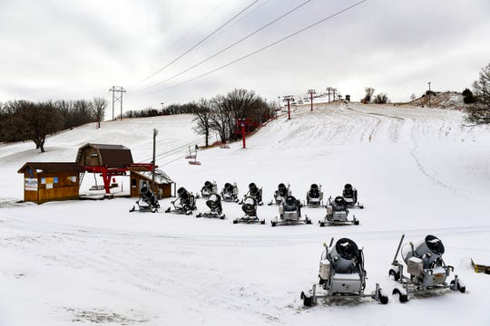 The first snowfall of the year lands on Wednesday, Nov. 27, at Great Bear Ski Valley in Sioux Falls.