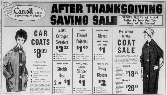 Clipping of a Carroll House Department Store advertisement from the Nov. 25, 1959 edition of The News Leader.